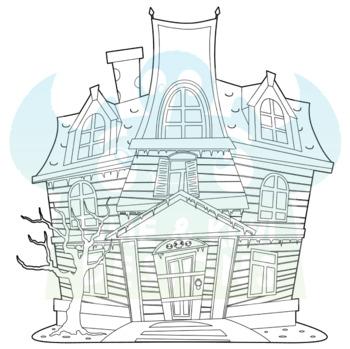 Haunted Halloween House Digital Stamps, Instant Download Vector Art