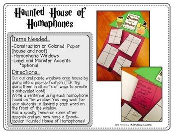 Haunted Homophone House Craftivity!