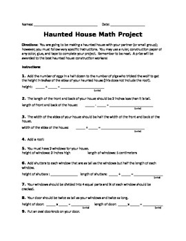 Haunted House 3-D Math Project
