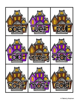 Halloween: Haunted House Antonyms Match