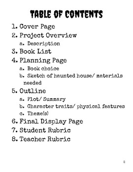 Haunted House Book Report Project