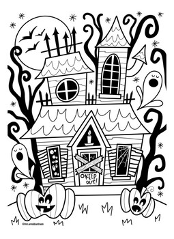 Haunted House Coloring Page By Mrs Arnolds Art Room Tpt