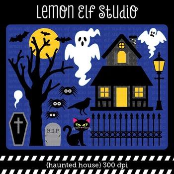 Haunted House-Digital Clipart (LES.CL46)