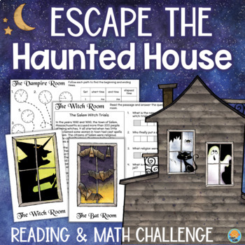 Haunted House ESCAPE ROOM 3rd 4th Grade Reading & Math