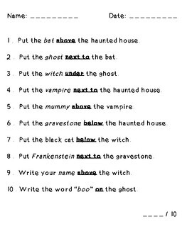 Haunted House Halloween Following Directions (Prepositions, Cardinal, Temporal)