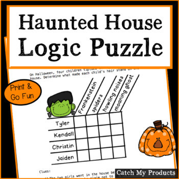 Halloween Logic Puzzle for Gifted and Talented - Haunted House