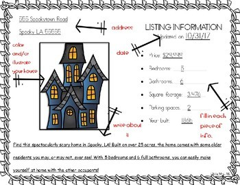 Haunted House Real Estate: Creative Writing & Adjective Work