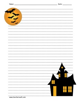Haunted House Spooky Night Lined Paper