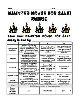 Haunted House for Sale Rubric