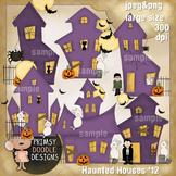 Haunted Houses 300 dpi Clipart