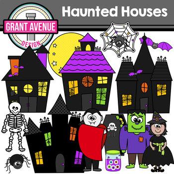 Haunted Houses Halloween Clipart