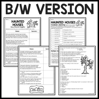 Haunted Houses poem by Longfellow, vocabulary, comprehension, Halloween