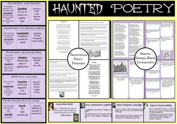 Poetry With Ghostly Theme, PPs, Vocab, Questions, Digital Interactive and Print