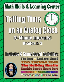 Telling Time to the Nearest 5-Minute Interval on a Clock (Holiday Bundle)