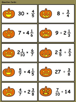 Haunted Pumpkin Patch Gamecards (Multiply & Divide Fractions & Mixed Numbers)