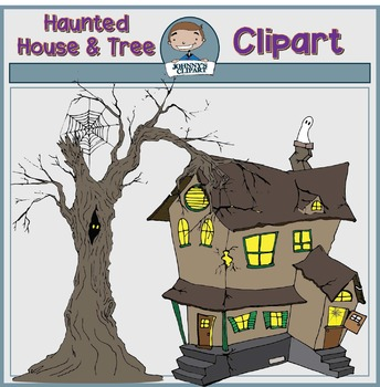 Haunted House and Tree Clipart