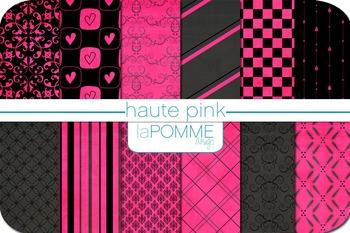 Haute Pink & Black Neon Patterned Digital Paper Pack