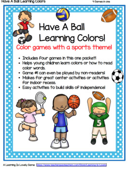 Have A Ball Learning Colors & Color Words With a Sport Kids Theme