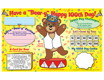 """Have A """"Bear-Y"""" Happy 100th Day! Activity Mats"""
