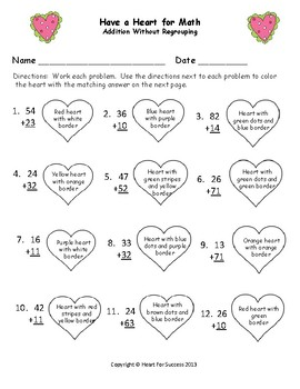 Valentine's Day Fun: Have A Heart for Math (Addition without Regrouping)