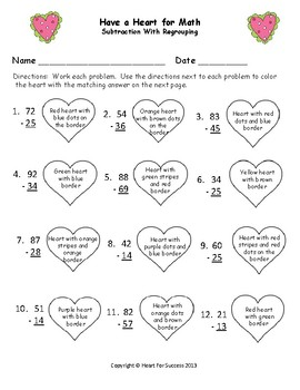 Valentine's Day Fun: Have A Heart for Math (Subtraction with Regrouping)
