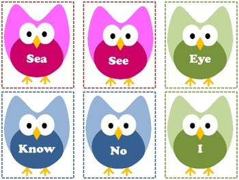 Have A Hoot With Homophones FREEBIE 24 owl-themed cards