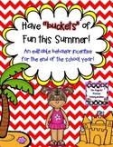 Have Buckets of Fun This Summer! - Editable Behavior Incentive Freebie