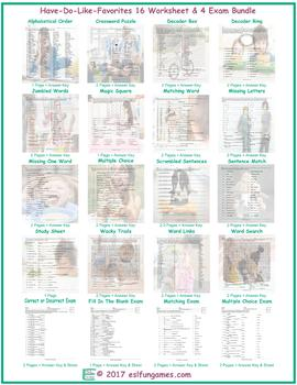 Have-Do-Like-Favorites 16 Worksheet- 4 Exam Bundle