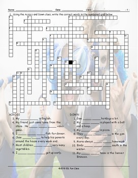 Have-Do-Like-Favorites Crossword Puzzle