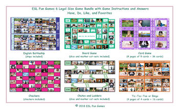 Have, Do, Like, and Favorites 6 English Legal Photo Game Bundle
