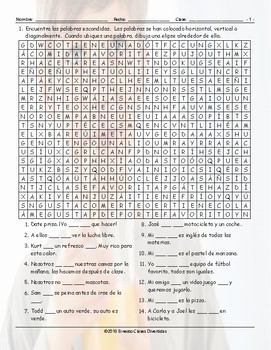 Have, Do, Like, and Favorites Spanish Word Search Worksheet