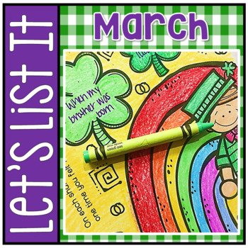 Have Fun Writing - Let's List It! Writing Center Printables March - NO PREP