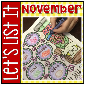 Have Fun Writing - Let's List It! Writing Center Printables November - NO PREP