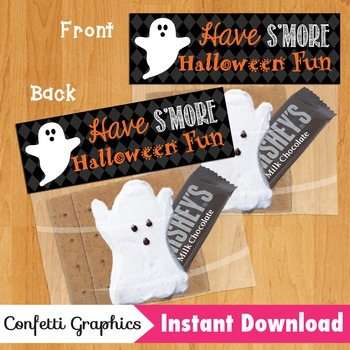 Have S'more Halloween Fun Treat Bag / Ziplock Topper Marshmallow Ghost Peeps