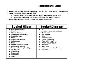 Have You Filled a Bucket Today? Anchor Chart