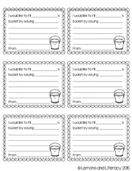Have You Filled a Bucket Today? Bucket Filling Slips