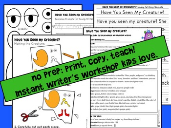 Have You Seen My Creature? Craft and Descriptive Writing  (Great for Halloween!)