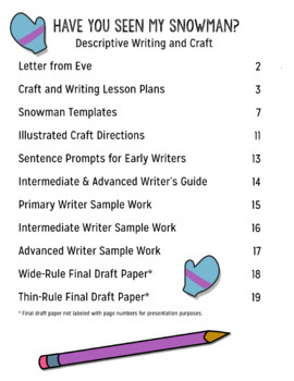 Have You Seen My Snowman? Descriptive Writing Activity and Craft