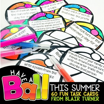 Summer Review Task Cards for Students Entering Grades 3 - 5