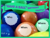 """""""Have a Ball"""" Birthday Party Invitation and Station Signs"""