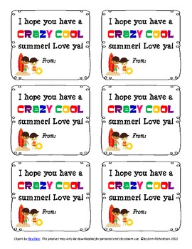 """""""Have a CRAZY COOL Summer"""" Treat or Goody Bag Tags!"""