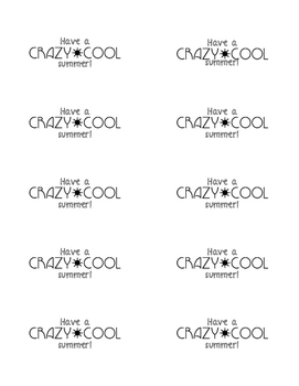 Have a Crazy Cool Summer! labels