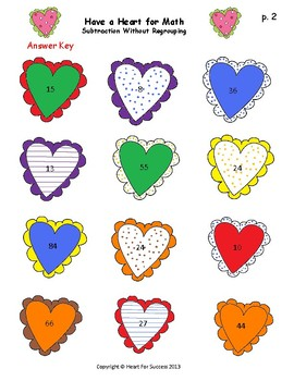 Valentine's Day Fun: Have a Heart for Math (Subtraction without Regrouping)