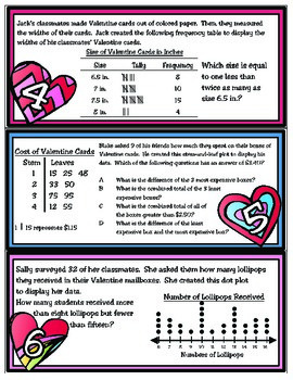 Have a Heart for..Frequency Tables, Dot Plots, & Stem-and-Leaf Plots (TEKS 4.9B)