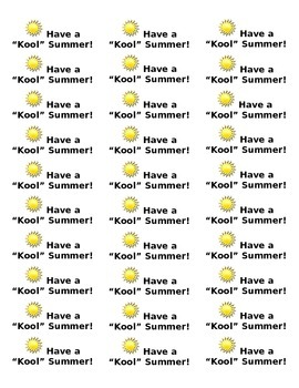 Have a Kool Summer Labels for Teachers to Give to Students
