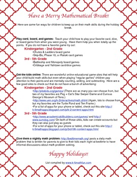 Holiday Math Activity Guide for Parents