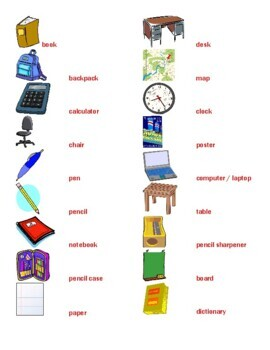 Have and School Objects in English Partner Speaking Activity 1