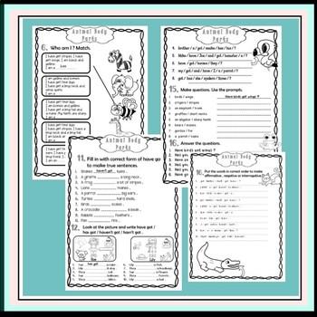 Have got - animal body parts  - grammar workbook