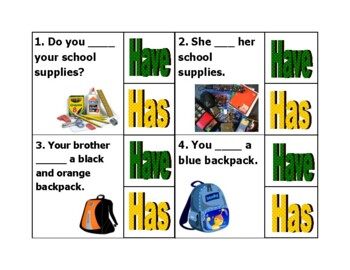 Have or Has?  School Supply Rush