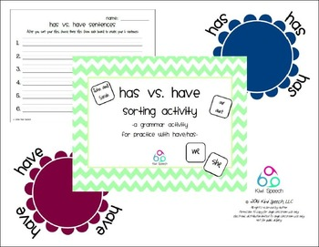 Have vs. Has Grammar Sorting Activity